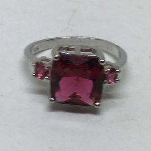 S925 Silver Ring w/Raspberry Tourmaline Stones